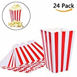 popcorn bag holder - WarmShine 24 Pack Popcorn Boxes Bags Paper Candy Popcorn Container Food Favor Bags for Party Favor Supplies