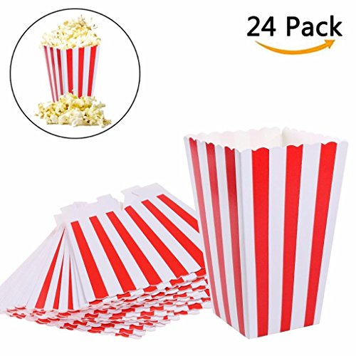 Sleepover Party Games - Eshylala Popcorn Boxes Bags Paper Candy Popcorn Container Food Favor Bags for Party Favor Supplies, Pack of 24