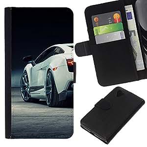 Coche Lambo Sexy Galardo - la tarjeta de Crédito Slots PU Funda de cuero Monedero caso cubierta de piel Para LG Nexus 5 D820 D821