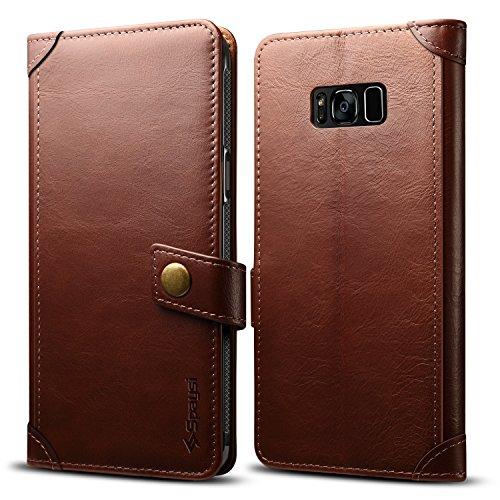 (Spaysi Galaxy S8 Plus Wallet Case Italian Genuine Leather Handmade Case for S8 Plus Card Holder Case Vintage Galaxy S8 Plus Flip Cover Case Book Style S8 Plus Folio Case Magnetic Closure Dark Brown)