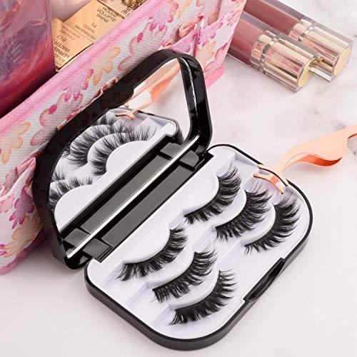 Allwon False Eyelash Case Three Tier Empty Eyelashes Box with Makeup Mirror Eyelash Packing Travel Storage Case (Black)