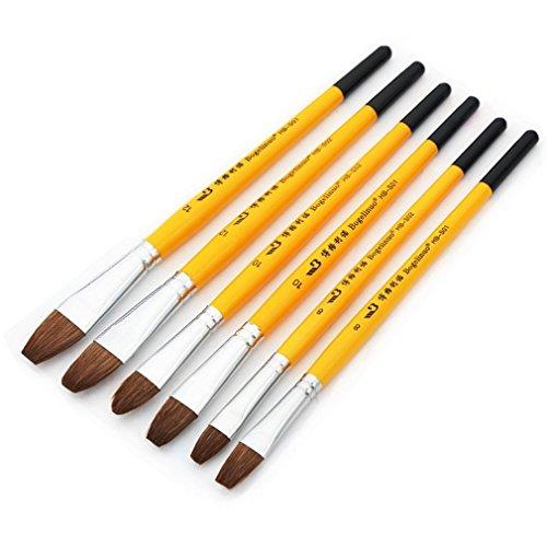 6本セット ペイントブラシ アクリル筆 プロ油絵筆 水彩画筆 丸筆 平筆 画筆 油絵の具セット