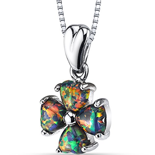 Created Black Opal Lucky Hearts Pendant Necklace Sterling Silver 1.50 Carats -