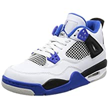 Nike Jordan Kids Air Jordan 4 Retro BG White/Game Royal Black Basketball Shoe 6.5 Kids US
