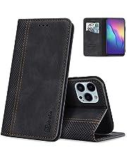 AKABEILA Fodral för iPhone 13 Pro mobiltelefonfodral läder flip fodral stativ PU plånbok skyddande fodral med [kortfack] [stativfunktion] [Magnetisk]