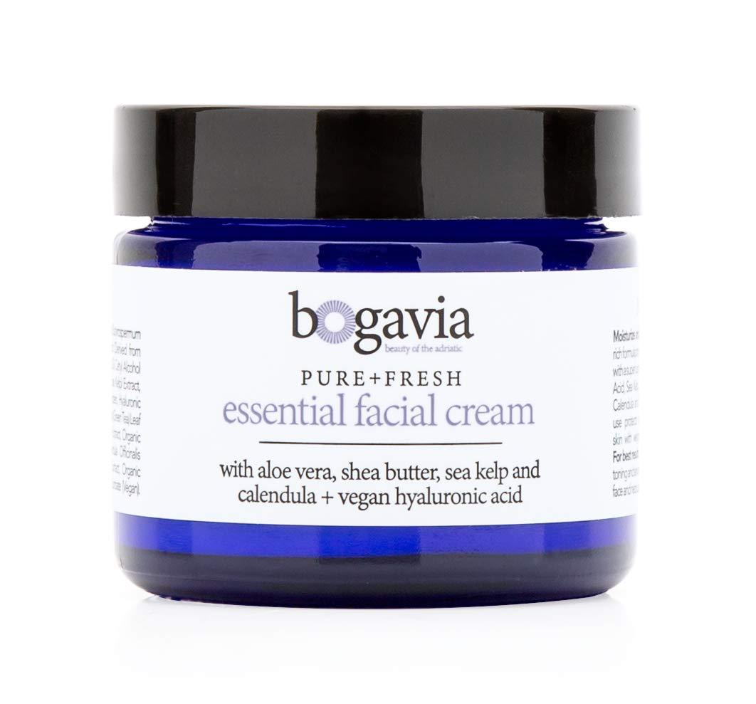 Bogavia Essential Facial Cream   Daily Moisturizer & Night Cream   Age Defying, Hydrating, Plumping   Shea Butter & Hyaluronic Acid   Vegan, Fragrance Free & Paraben Free   Skin Care for Women & Men
