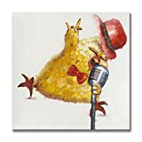 chicken artwork - SEVEN WALL ARTS - Modern Fashion Canvas Painting Cute Animal Artwork with Stretched Frame for Home Decor Party Decor (Rock and Roll Chicken, 24 x 24 Inch)