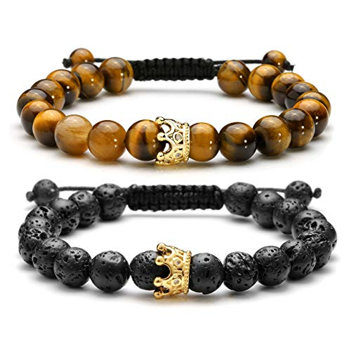 Top Plaza Couple Distance Bracelets Lava Stone Beads Essential Oil Diffuser Adjustable Bracelet with King Queen Crown Charm - Yellow Tiger Eye Stone Bracelet - Gold