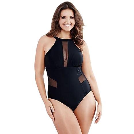 LMMVP Bikinis Mujer,Traje de baño Acolchado con Malla de natación para Mujer de Talla Grande Ropa de Playa Monokini Mono Push Up Bikini (XXXL, Negro)