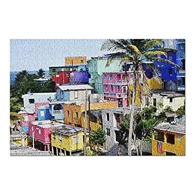 Old San Juan, Puerto Rico - Colorful Houses & Palm Tree 9033596 (Premium 500 Piece Jigsaw Puzzle for Adults, 13x19, Made in USA!): Toys & Games