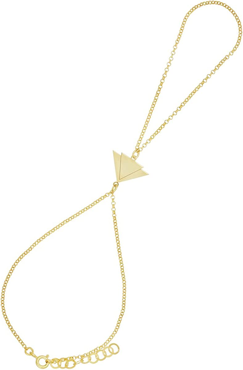Córdoba Jewels | Pulsera de Dedo en Plata de Ley 925 bañada en Oro con diseño Triangles Infinity Oro