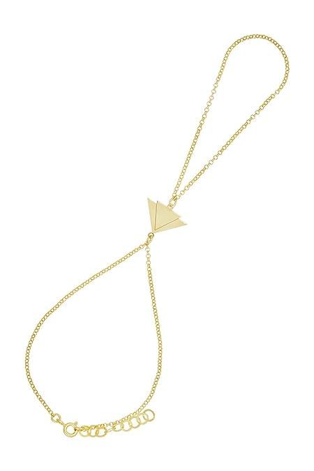 Córdoba Jewels   Pulsera de Dedo en Plata de Ley 925 bañada en Oro con diseño Triangles Infinity Oro