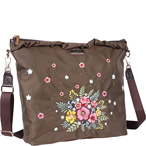 Design With Handbag Trimmings Leather Nylon Embroidered Crossbody Brown Floral and wqxOP4Xt