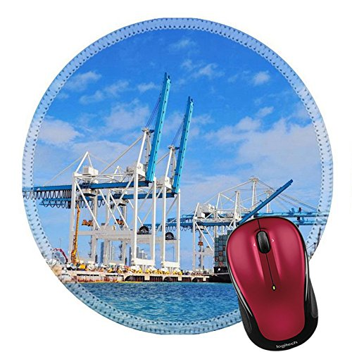 Liili Round Mouse Pad Natural Rubber Mousepad Cargo ship at Miami harbor with crane and blue sky over sea IMAGE ID - Harbour Miami