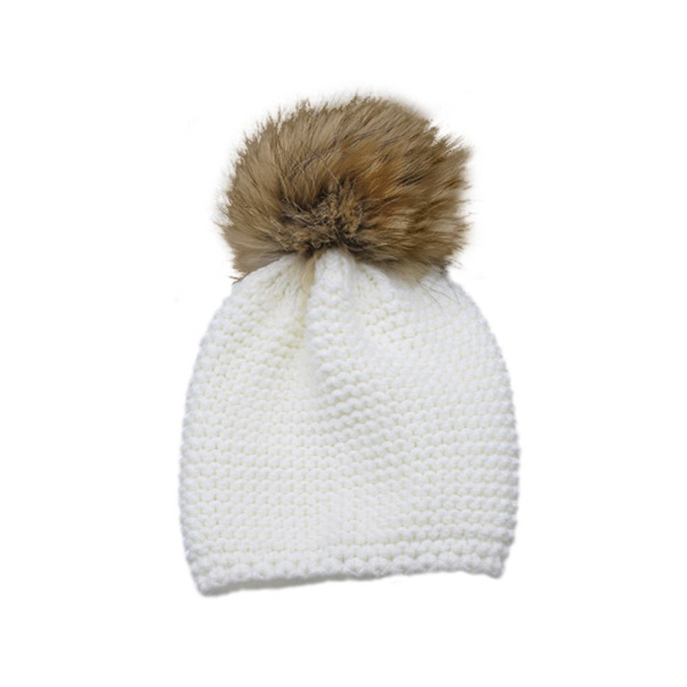 Childrens Unisex Outdoor Warm Stylish Winter Beanie Hat with Detacahable Pom Pom and Knit Design Made with Real Fur