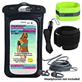 Waterproof Phone Case with Armband for Running and Swimming. with Headphone Jack. SwimCell Fits All Phones 7 x 4 inches - iPhone 6, 7, Plus Samsung. (Black HPJ, with Headphone Jack)