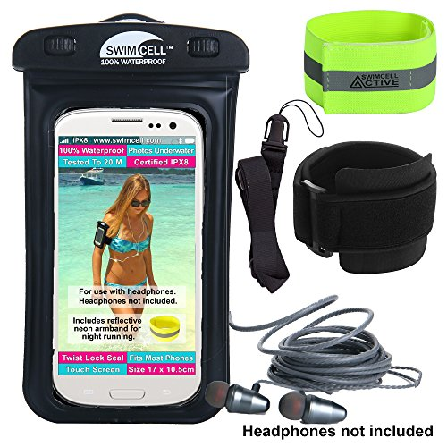 Waterproof Phone Case with Armband for Running and Swimming. with Headphone Jack. SwimCell Fits All Phones 7 x 4 inches - iPhone 6, 7, Plus Samsung. (Black HPJ, with Headphone Jack) by SwimCell