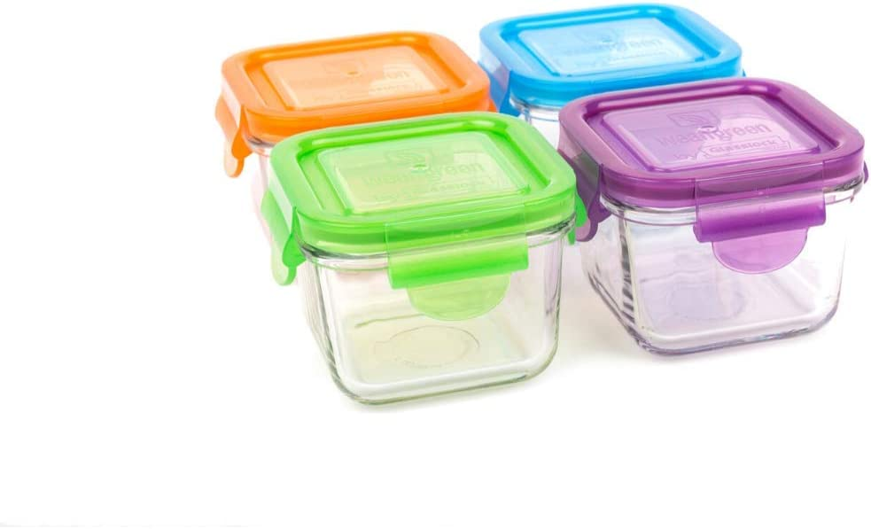 Wean Green Snack Cubes Glass Food Containers, Garden Pack