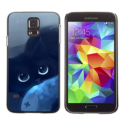 amsung Galaxy S5 cat blue eyes black night drawing mysticism / Slim Black Plastic Case Cover Shell Armor