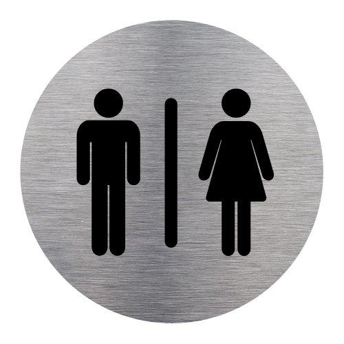 Plaque de porte Toilettes Mixtes - Adhésif Autocollant Sticker aspect Aluminium Brossé - Pictogramme Toilettes Mixtes Porte Disque Rond Diamètre 83 mm - Toilettes Mixtes Signalétique.biz France Q0178