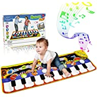 RenFox Kids Musical Mats, Music Piano Keyboard Dance Floor Mat Carpet Animal Blanket Touch Playmat Early Education Toys for Baby Girls Boys(43.3x14.2in)