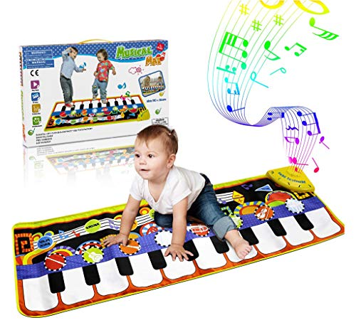 RenFox Kids Musical Mats, Music Piano Keyboard Dance Floor Mat Carpet Animal Blanket Touch Playmat Early Education Toys…