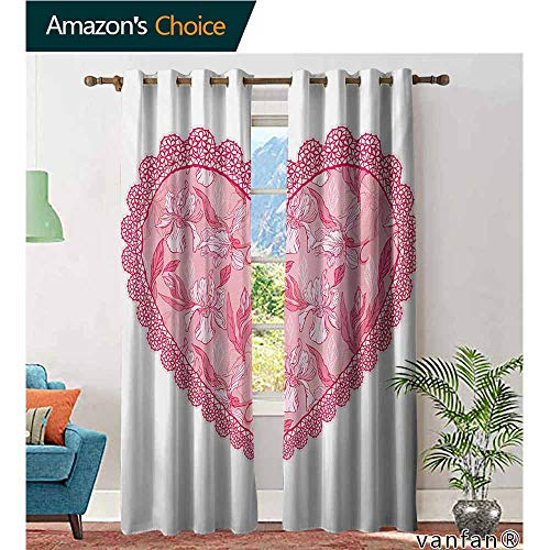 t Top,Lovelace Heart with Floral Pattern Wedding Valentine Blossoms Leaves Classic Retro,Living Room Curtain Panels,Pink Rose White,W108 xL108 ()
