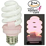 Pink breast cancer awareness light bulb 2 pack by TCP Benefits the Susan G. Komen