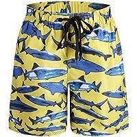 ORANSSI Boys Kids Shark Printed Swim Trunks Board Shorts with Pockets