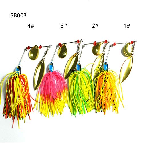Fishing Lures 4pc 17G metal lure hard fishing lures Spinner Lure Spinnerbait Pike swivel Fish tackle wobbler Submerged Fluff (Best Spinnerbait For Pike)