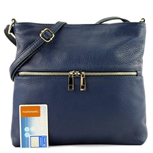 Bag T144 Ital Ladies Blue Crossover dark Shoulder De Leather Color Modamoda wtW7x0