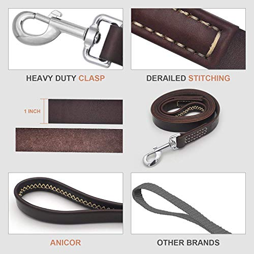 Image of ANICOR Leather Dog Leash 6Ft&1'' Wrapped Handle Italy Cowhide(Never Fading) Heavy Duty Padded Lead for Medium, Large Dogs Training and Walking (Brown)
