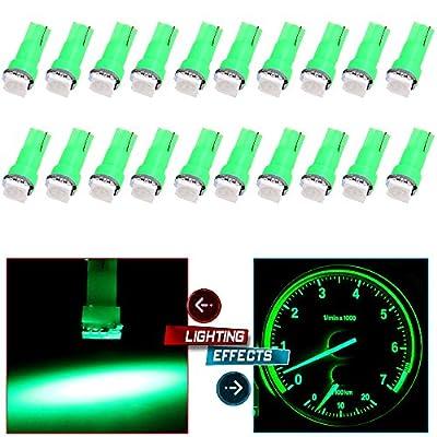cciyu 20x Blue T5 Blue Dashboard Instrument Panel Instrument Speedometer Gauge Cluster 37 73 74 79 17 57 5050 1-SMD LED Light Bulb 12V (green): Automotive