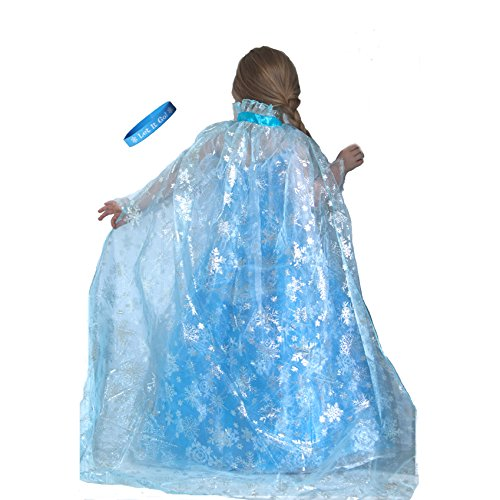 Lilly and the Bee Novelties Frozen Ice Princess Shimmering Snowflake Cape with Let It Go Band