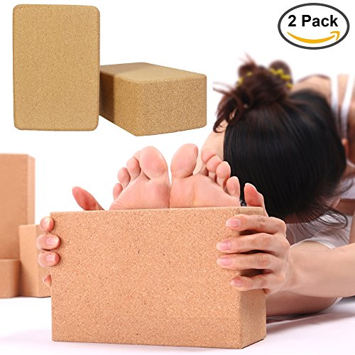 Reliancer 2 Pack Eco-friendly Cork Yoga Blocks 4inch Thick Laser Edge Anti-friction Anti-slip Natural Yoga Brick Wet Absorbent Odor-Resistant and Moisture-Proof to Support and Deepen Poses – DiZiSports Store