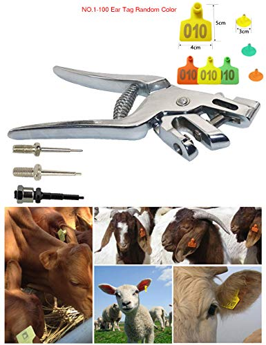 Portable Ear Tag Pliers Kits, Quality Stainless Steel Ear Tag Applicator with NO.1-100 TPU Material Ear Tag and 3 Ear Mark Needles, Suitable for Poultry and Livestock (Best Cutting Horse Bloodlines)
