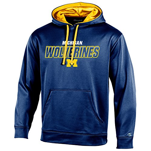 Champion NCAA Michigan Wolverines Adult Men Pullover Hood with Contra, Large, Navy