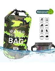 Idefair Wasserdichter Packsack, Schwimmender Trockenrucksack Strandtasche Leichter Trockensack für den Strand, Bootfahren, Angeln, Kajakfahren, Schwimmen, Rafting, Camping 10L 20L