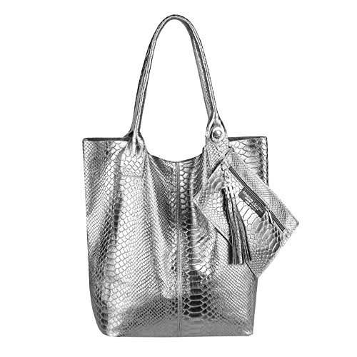 OBC Only-Beautiful-Couture, Borsa a spalla donna Lila 42x35x16 ca.: 42x35x16 cm (BxHxT) dunkelsilber-leder (SERPENTE)