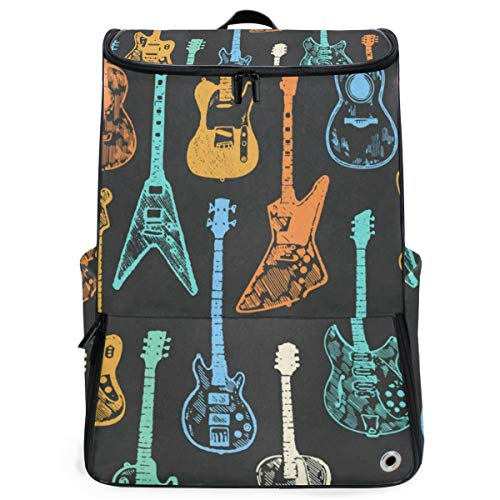 Travel Backpack Colorful Guitar Collection Gym Backpack for Women Big 3D Bag