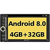 PUMPKIN Android 8.0 Car Stereo Double Din DVD Player 4GB RAM with Navigation, WIFI, Support Android Auto, Fastboot, Backup Camera, 128GB USB SD, AUX, 6.2 Inch Touch Screen