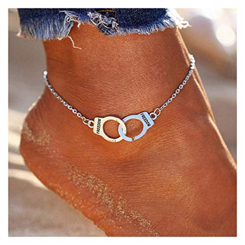 Tgirls Love Handcuffs Anklets Fashion Ankle Bracelet Beach Foot Jewelry for Women and Girls (Silver)
