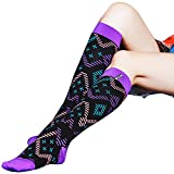 Womens Compression Performance Socks WXXM Long Tube Rugby Knee High Hiking Camping Compression Socks,1 Pair/Purple Wave,Shoe