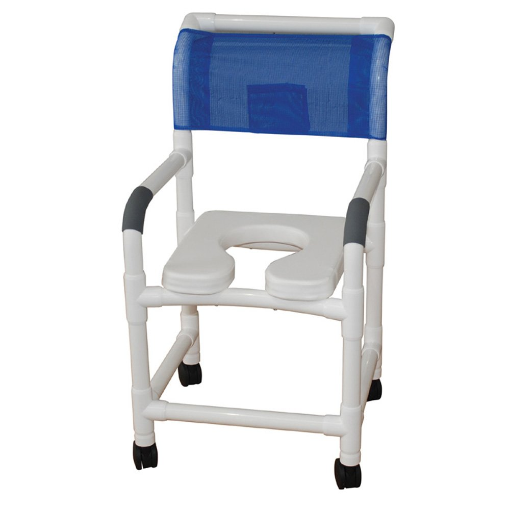 MJM International 118-3TW-SSDE Standard Shower Chair with Soft Seat, Royal Blue/Forest Green/Mauve