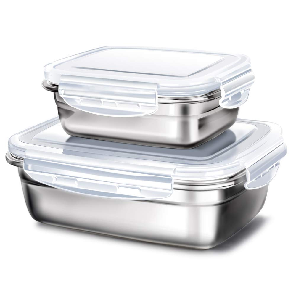 GA Homefavor Lunch Box Stainless Steel Food Fruit Salad Container (Set of 2) G.a HOMEFAVOR
