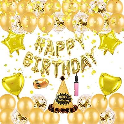 Kreatwow Decoraciones de Feliz cumpleaños de Oro Globos de ...