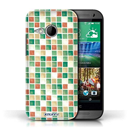 Etui / Coque pour HTC One/1 Mini 2 / Vert/Rouge conception / Collection de Carreau Bain