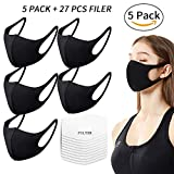 Fashion Protective Face Masks by seilliet, Reusable Washable Breathable Face Shield, Unisex Mouth Mask for Cycling Camping Travel, Black - 5 Pack
