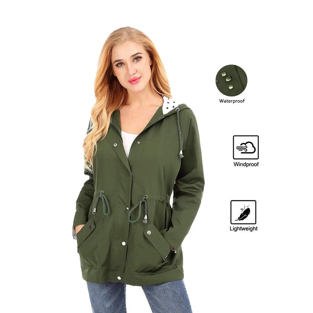 Uniboutique Womens Waterproof Rain Jacket Hooded Lightweight Drawstring Raincoat