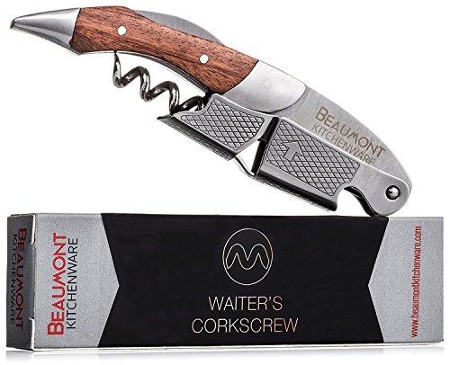 Top Rated Waiter's Corkscrew | Multi-function 3-in-1 Corkscrew, Bottle Opener, Foil Cutter | Efficient Double-Hinge | Steel Reinforced Worm | Sharp Serrated Foil Cutter | Premium Rosewood